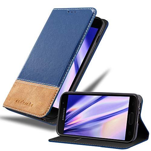 Cadorabo Hülle für Samsung Galaxy A3 2017 in BLAU BRAUN – Handyhülle mit Magnetverschluss, Standfunktion & Kartenfach – Hülle Cover Schutzhülle Etui Tasche Book Klapp Style
