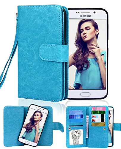 Crosspace Galaxy S6 Edge Plus Case, Flip Wallet Case Premium PU Leather 2-in-1 Protective Magnetic Shell with Credit Card Holder/Slots and Wrist Lanyard for Samsung Galaxy S6 Edge + (Blue)