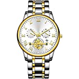 ML S HJDY Reloj De Cuarzo para Hombre con Calendario Impermeable Y Agujas Luminosas Reloj Analógico De Negocios De Moda Relojes Casuales para Hombre,Gold Blue