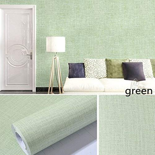 Green Linen Contact Paper Waterproof PVC Self-Adhesive Removable Peel and Stick DIY Wallpaper Faux Imitation Cloth Vinyl Film Wall Stickers Solid Color Decorate Furniture Bedroom (15.7 in X 118 in)