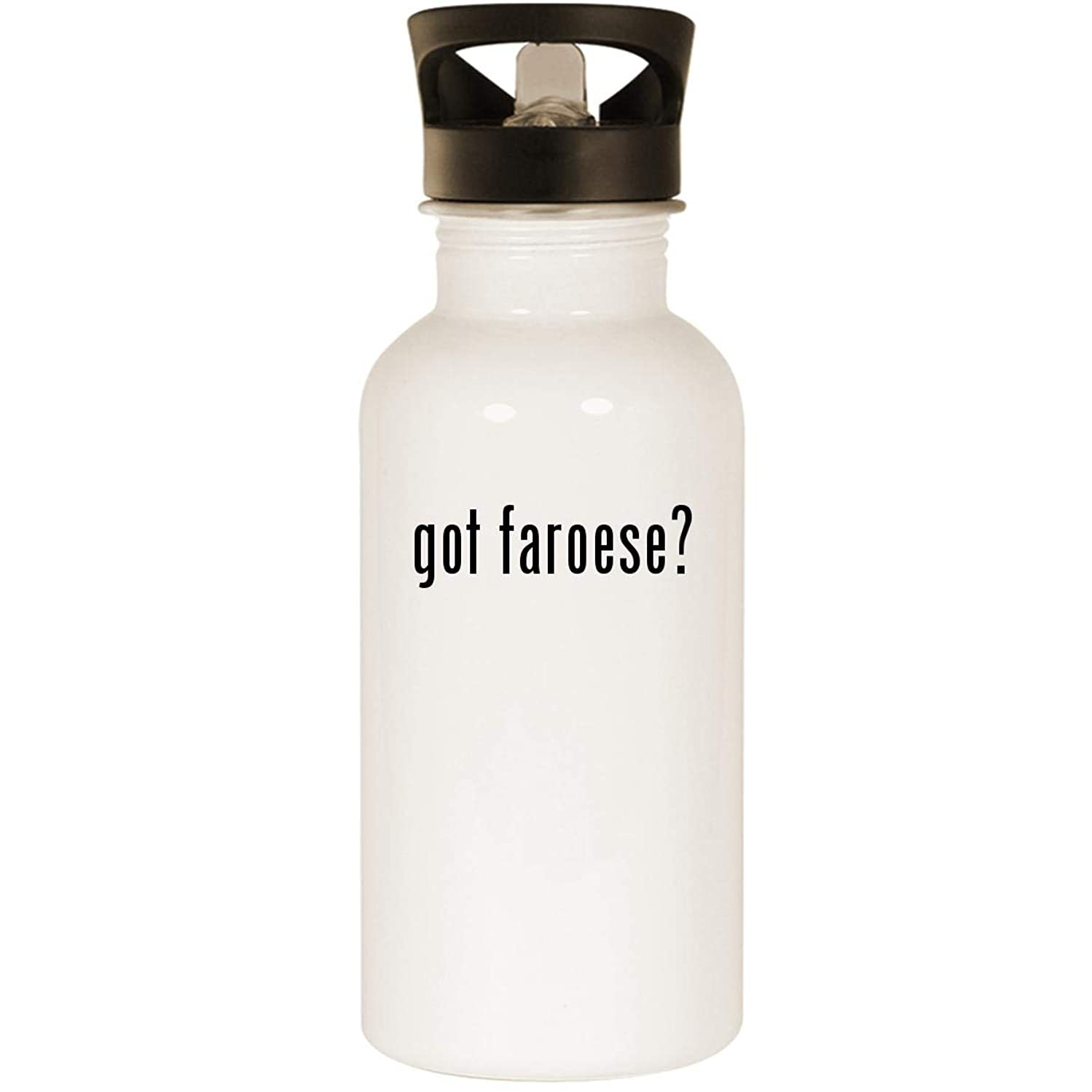 got faroese? - Stainless Steel 20oz Road Ready Water Bottle, White