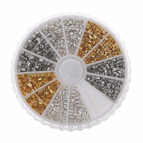 EAPTS 3000 peças de 2 tamanhos de contas de latão para crimpagem de tubos de 1,5 2 mm espaçadores de tubos para pulseiras, colares, joias, pulseiras, colares, bijuterias