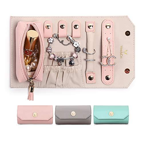Vee Joyero de viaje, portátil, estuche de viaje, funda de viaje, piel sintética, bolsa de joyas, para anillos, pendientes, collares, regalo de viaje para mujeres y niñas (rosa)