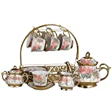 Tea Sets for Afternoon Tea with Teapot,Tea Sets Glazed Porcelain Rose Pattern Afternoon Tea Drinkware Coffee Set With 6 Piece Cups And 6 Piece Saucer