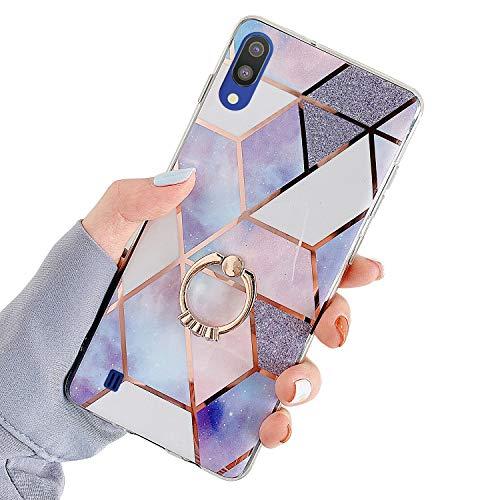 Kompatibel mit Samsung Galaxy A10 Hülle Glitzer Marmor Muster Weich Silikon Handyhülle mit 360 Grad Ring Ständer, Glitzer Glänzend Mädchen TPU Silikon Schutzhülle Kratzfest Tasche Crystal Case,#D