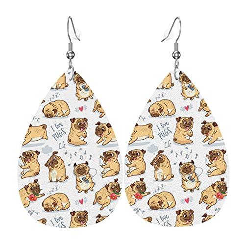 Amo gli orecchini in pelle di carlino per le donne Orecchini per feste di capodanno Orecchini a goccia con ciondolo a foglia leggera