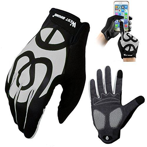 West Biking Fahrradhandschuhe für Damen Herren Frauen Manner, Winddicht Silikon Touchscreen Vollfinger Handschuh für Smartphone Mountainbike Rennrad Reiten