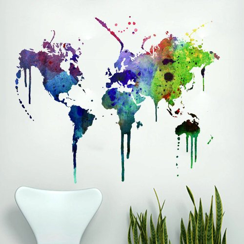 Moonwallstickers Watercolor World Map Wall Decal – 189 x 152 cm | 74.4 x 59.8 in