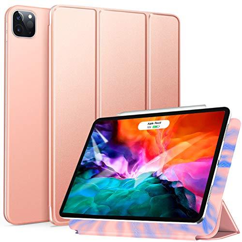 ZtotopCase Funda para iPad Pro 2020 12.9 Pulgadas, Ultrafina, Fuerte y magnética, Triple Soporte, con función de Encendido y Apagado automático, para iPad Pro de 12.9 2020 Pulgadas,Oro Rosa