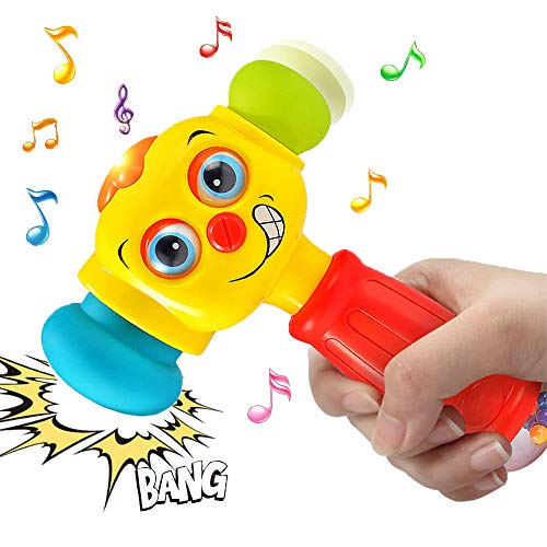 Style-Carry Musical Light Hammer Baby Toys - Funny Changeable Eyes Hammer Toy for 12 Months Up 1 2 3 Years Old Infant Toddler Boys Girls Presents Gifts
