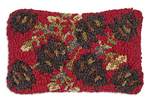 "Chandler 4 Corners Artist-Designed Pinecones on Red Hand-Hooked Wool Decorative Petite Throw Pillow (8"" x 12"")"