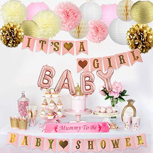 Decoraciones de baby shower para niña Rosa Bandera, Momia para ser marco, Globos de papel de carta y decoraciones de papel de seda