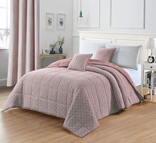 PimpamTex Jacquard-Tagesdecke, Flauschige Steppdecke für das Schlafzimmer, Eleganter & schöner Bettüberwurf, Hochwertige Wendebettdecke Modell Jacquard (240 x 270 cm, Mauve Chenillesonne)