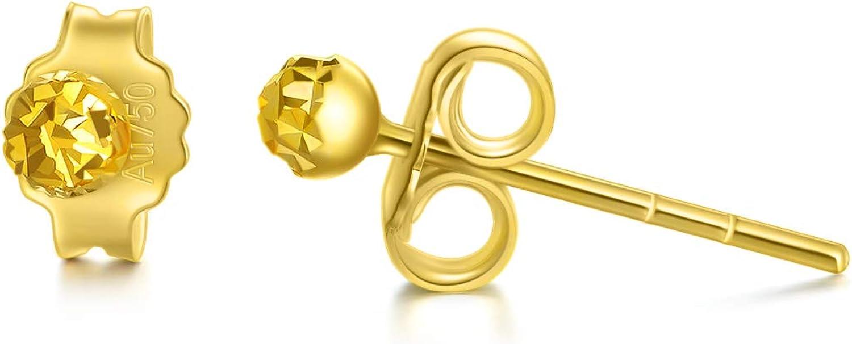 18K Solid Gold Diamond-Cut Ball Stud Earrings, 3MM Ball Studs Push Back Birthday Anniversary Jewelry Gift for Women, Girls