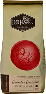 Café Las Flores Grandes Cosechas Espresso Roast Whole Coffee Beans 907 GRAMS (2 POUNDS) 100% Arabica Gourmet Coffee Blend - Nicaragua's Finest Coffee