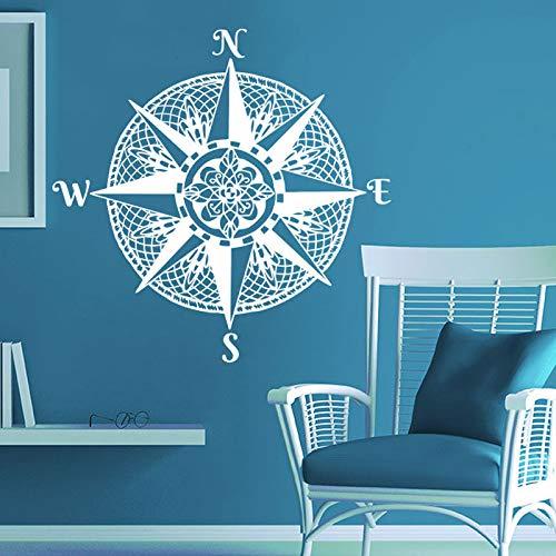 Mandala brújula calcomanía de pared navegar nave pegatina calcomanías brújula náutica rosa océano mar sala de estar dormitorio Deco A4 42x42cm