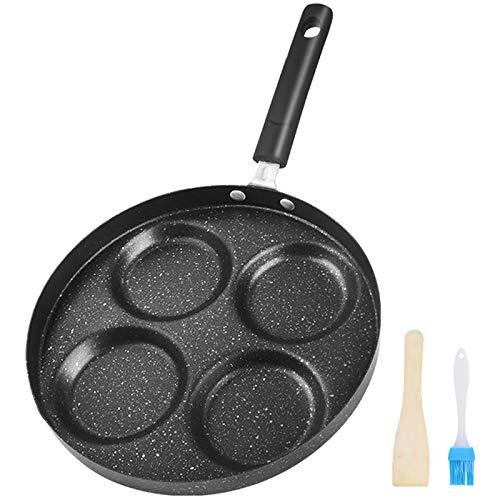 Padella per uova con rivestimento antiaderente, padelle per frittata da 4 tazze tonde in forma di cuore, per pancake, crepe, gnocchi, hamburger, universalmente applicabile a tutte le pentole (Nero)
