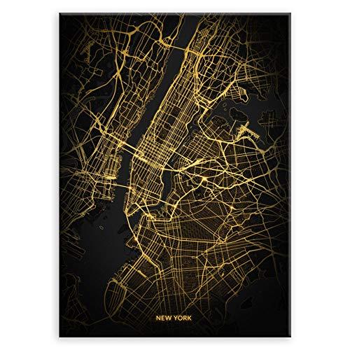 Murrano Metal Poster Metallbild Metallposter - Weltstädte - Poster Stadt - mithilfe eines Magnets montiert - schwarz City Light - New York Senkrecht - 67 x 48 cm