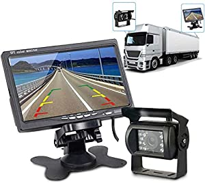 Truck Reversing Camera Kit, Maso IR Night Vision Reverse Camera 4 Pin + 7 inch Car Rear View Monitor Parking Assistance System with 10m Cable for RV Truck Trailer Bus Camper Motorhome