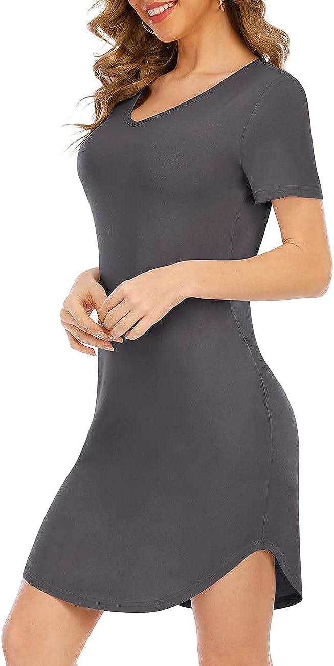 CMHOAFN Womens Sexy V-Neck Stretchy Short Sleeve Party Club Short Mini Dress Irregular Hem