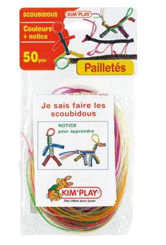Cofalu Kim'Play - Scoubidous - 50 Brins De Couleurs à Paillettes + Notices