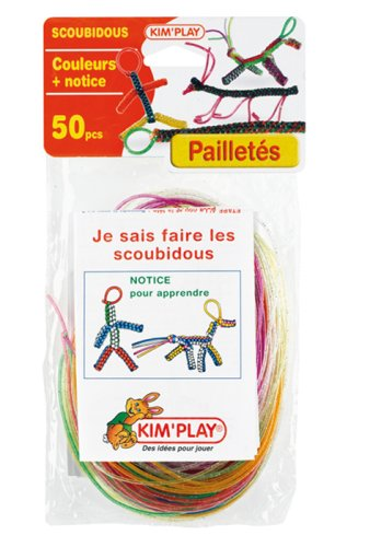 Cofalu Kim'Play - Scoubidous - 50 Brins De Couleurs à Paillettes + Notices