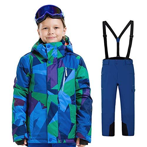 YFCH Kinder Jungen/Mädchen 2 Teilig Skianzug Schneeanzug(Skijacke+ Skihose), Blau-Grün Fraktalbild Jacke+ Marineblau Trägerhose, Gr. 152/158(Label: 160)