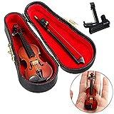 ZZMUK Hölzerne Violine Miniatur Musikinstrument Modell, Mini schöne künstliche Violine Puppenhaus Ornament Urlaub Zubehör Geschenk mit...