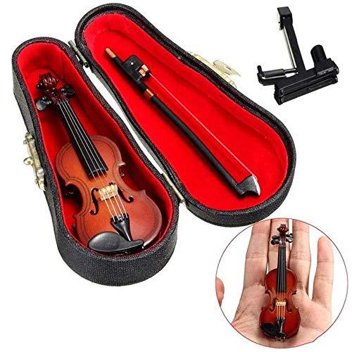 ZZMUK Hölzerne Violine Miniatur Musikinstrument Modell, Mini schöne künstliche Violine Puppenhaus Ornament Urlaub Zubehör Geschenk mit Unterstützung Stehen Bogen und schwarzen Fall