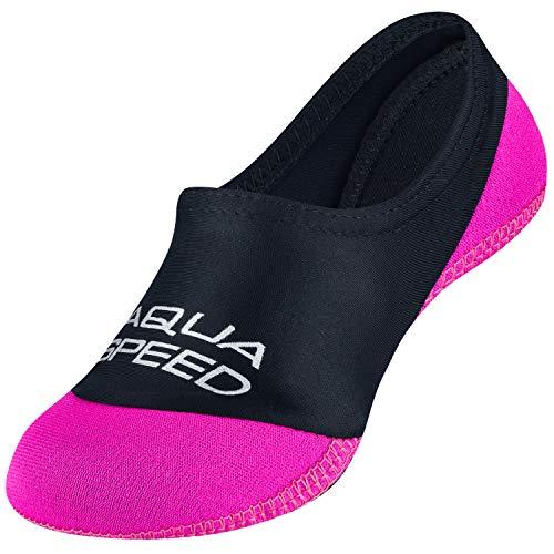 Aqua Speed Neo Socks Calcetines para Niños | Calcetines de Neopreno | Hijos | Suela Antideslizante | Elásticos | Fácil | Color 19 Negro/Rosa | Tamaño: 34/35