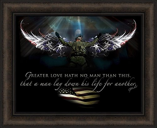 Home Cabin Décor No Greater Love - The Guardian by Jason Bullard 18x22 Soldier Military Patriotic Inspirational Angel Wings Americana Framed Art Print Picture