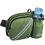 KEESPENCE Hiking Fanny Pack, Waist Bag with Water Bottle Holder for Men Women Outdoors Walking Running, Dog Fanny Pack, Fit iPhone 8 Plus/XS Max/ 6.5'' Large Smartphones (Army Green)