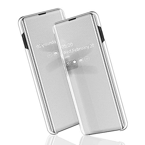 BRAND SET Telefoonhoes Huawei Mate 20 Lite Telefoonspiegel Smart Cover Dubbele hoes Bescherming Raam Ultradun met standaard functie geschikt voor Huawei Mate 20 Lite, Huawei Mate 20 Lite, zilver.