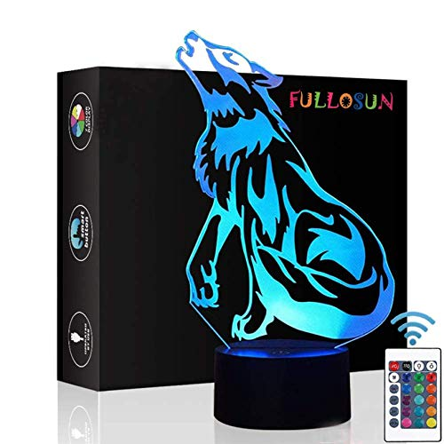 Wolf Gifts, 3D Night Light for Kids Optical Illusion Lamp Co-Sleeping ,Remote Controller with 16 Color Changing Ideal Birthday Gifts & for Kids, Boys & Men