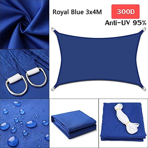 Z.L.FFLZ Sun Shade Cloth Blue Royal 300D Polyester Oxford Fabric Square Rectangle Shade Sail Outdoor Garden Rodless Tent Shade Sail (Color : 3x4, Size : E blue)