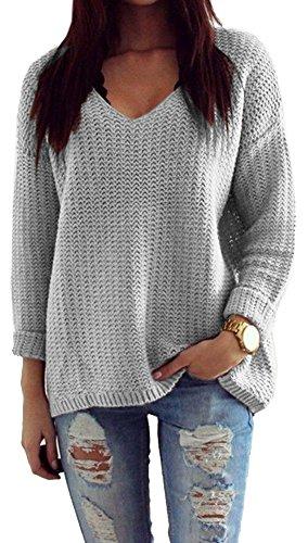 Mikos*Damen Pullover Winter Casual Long Sleeve Loose Strick Pullover Sweater Top Outwear (627) *Hergestellt in der EU - Kein Asienimport* (Grau)
