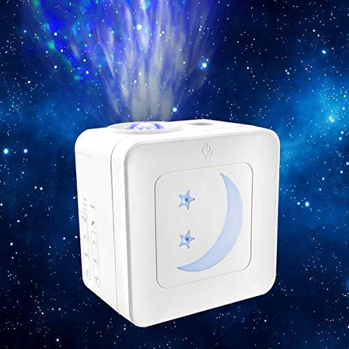 Proyector Estrellas LED, 21 Modos Lámpara Luna Infantil Nocturna Con Sonido Activado y Modo Inalámbrico, Luces Decorativas Habitacion Control tactil, Luz de Noche para Fiesta, Niños, Regalo Navidad