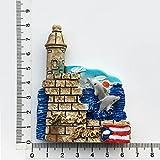 HUAYING Pegatinas magnéticas creativas para nevera en 3D de Puerto Rico San Juan Tour conmemorativo pintado decorativo artesanías imán decoración