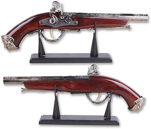 Antique Pistol 16 Decoration Plastic Flintlock Gun Model With Plastic Display Stand Non Firing Replica