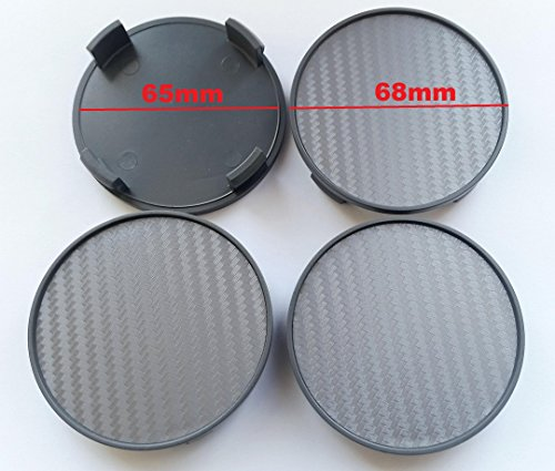 Born 1 Carbon 4 STK x 68mm GRAUE Nabenkappen Radkappen Felgenkappen Raddeckel - PASSEND für Felgen mit 64,5-65mm Innendurchmesser des Lochs