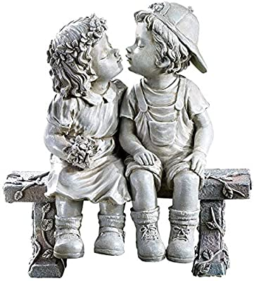 Lily's Home First Kiss Resin Garden Statue, Little Girl and Boy Kissing Yard Miniature Figurine, 9 Inch