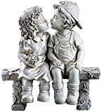 Lily's Home First Kiss Resin Garden Statue, Little Girl and Boy Kissing Yard Miniature Fig...