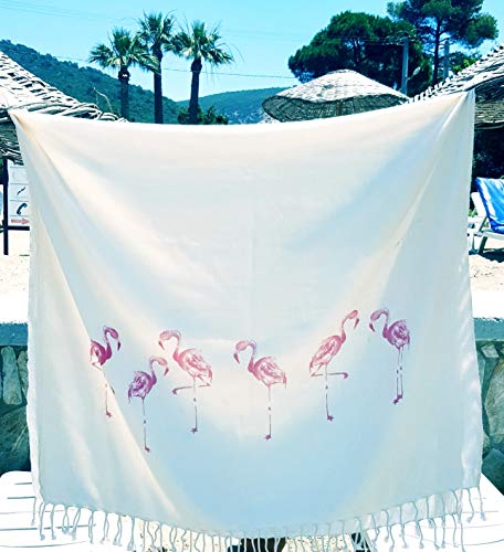 Secret Sea Collection, Lightweight Peshtemal Beach & Bath Towel, Bamboo (62'' x 35'') Flamingos