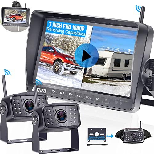 RV Backup Camera Wireless HD 1080P AMTIFO 7 Inch DVR Monitor System...