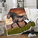 3D Horse Print Throws Blanket Comfort WarmthSoftCozyBlanket Fleece Blanket Couch Blanket Reversible Bed Throw TV Blanket Comfort Caring Gift (Throw60'x 80')