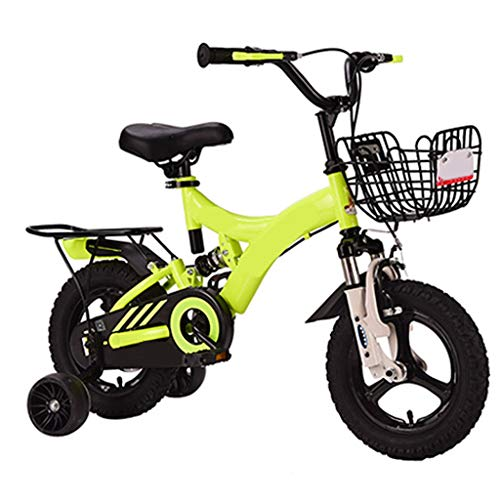 Kids' Bikes Kids Damping Bicycles,Bike for 2-9 Years Old 12 14 16 18 Inch Kids Bike with Training Wheels, Toddler Bicycle (Color : Yellow-a, Size : 12 inch)
