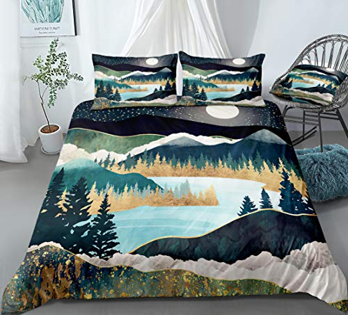 Mountain Bedding Nature River Duvet Cover Set Mountain River Tree Forest and with Moon Printed Design Natural Landscape Bedding Sets Queen 1 Duvet Cover 2 Pillowcases (Queen, River)