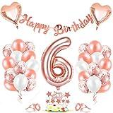 6er Cumpleaños Globos, Decoración de cumpleaños 6 en Oro Rosa, Cumpleaños 6 Año Globos Niñas, Feliz Cumpleaños Decoración Globos 6 Años, Globos de Confeti y Globos de Aluminio para niñas y Mujeres
