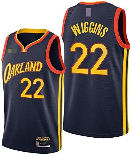 XSJY Jerseys De Baloncesto De Los Hombres - NBA Warriors # 22 Andrew Wiggins Swingman Edition Mess Jersey Unisex Sin Mangas Vest Top Sportwear,Negro,XL:180~185cm/85~95kg
