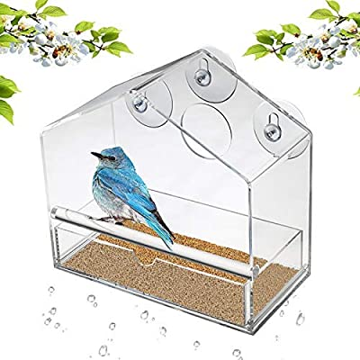 Display4top Garden Acrylic Window Bird Feeder with Removable Sliding Tray and Suction Cups